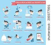 12 ways to relax infographics... | Shutterstock .eps vector #200377001
