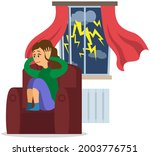 stressed girl covers ears with... | Shutterstock .eps vector #2003776751