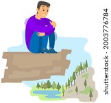 man suffering from fear of of... | Shutterstock .eps vector #2003776784