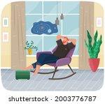 man lying in armchair. happy... | Shutterstock .eps vector #2003776787