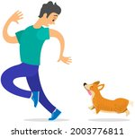 man frightened by dog suffers... | Shutterstock .eps vector #2003776811