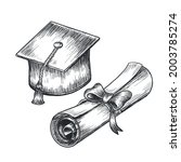 hand drawn vintage graduation...   Shutterstock .eps vector #2003785274