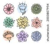 doodle flower vector set. hand... | Shutterstock .eps vector #2003807954