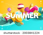 """word """"summer"""" with colorful ice ... 