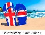 Flip Flops With Icelandic Flag...