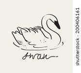 swan vector drawing  eps 10   Shutterstock .eps vector #200406161