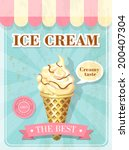 vintage poster with ice cream | Shutterstock .eps vector #200407304