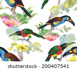 birds and flowers seamless... | Shutterstock .eps vector #200407541