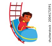 scared indian boy riding roller ... | Shutterstock .eps vector #2004173591