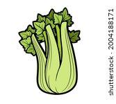 stem of juicy celery color...   Shutterstock .eps vector #2004188171