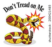 An image of a rattlesnake with don't tread on me text. - stock vector