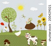 card with girl and pets on... | Shutterstock .eps vector #200429021