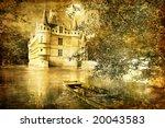 romantic castle - artistic toned picture in retro style - stock photo