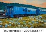 Blooming Allium And Train. Oil ...