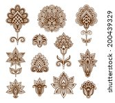 ornamental flowers. vector set... | Shutterstock .eps vector #200439329