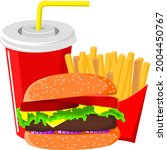 hamburger with french fries and ...   Shutterstock .eps vector #2004450767
