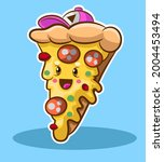 cute slice of pizza with her... | Shutterstock .eps vector #2004453494
