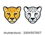 cartoon cheetah head  color and ... | Shutterstock .eps vector #2004507857