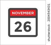 november 26 calendar icon w day ...   Shutterstock .eps vector #2004543431