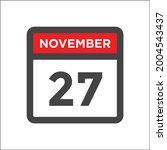 november 27th calendar icon w...   Shutterstock .eps vector #2004543437