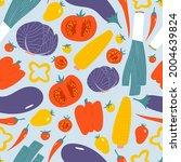 vegetables seamless pattern.... | Shutterstock .eps vector #2004639824