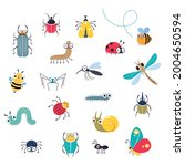 cute funny insects set  beetle  ... | Shutterstock .eps vector #2004650594