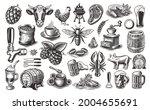 vintage food vector clipart  a... | Shutterstock .eps vector #2004655691
