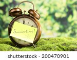 Summertime. Old Clock On Grass