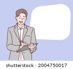 businessman writing on...   Shutterstock .eps vector #2004750017