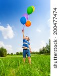 small boy with colorful... | Shutterstock . vector #200477474