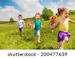 excited running kids in green... | Shutterstock . vector #200477639