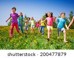 happy kids run and hold hands... | Shutterstock . vector #200477879