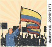 colombians protesting with flag ... | Shutterstock .eps vector #2004849671