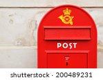 Red Postal Box Against Grunge...