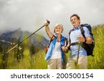 senior tourist couple hiking at ... | Shutterstock . vector #200500154