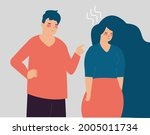 man blames a woman and points... | Shutterstock .eps vector #2005011734