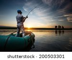 mature man fishing from the... | Shutterstock . vector #200503301