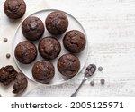 Chocolate Muffins On White...