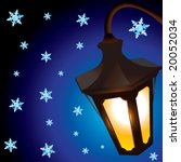 christmas lantern and snowflakes | Shutterstock .eps vector #20052034