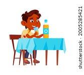 boy child drinking natural... | Shutterstock .eps vector #2005285421