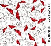mushroom seamless pattern. fly... | Shutterstock .eps vector #2005319864