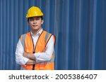 asian male cargo worker wth... | Shutterstock . vector #2005386407