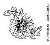 black line sunflower and leaves ... | Shutterstock .eps vector #2005388567