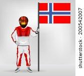 standing racer holding... | Shutterstock .eps vector #200542007