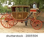 An old carriage at Colonial Williamsburg in Virginia. - stock photo