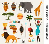 set of african ethnic style... | Shutterstock .eps vector #200551181