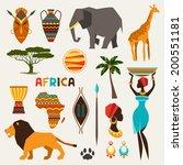 set of african ethnic style... | Shutterstock .eps vector #200551181