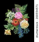 watercolor flowers bouquet  on...   Shutterstock .eps vector #200554571