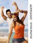 happy young couple enjoying... | Shutterstock . vector #200556659