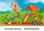 kids having fun on the... | Shutterstock . vector #200558201